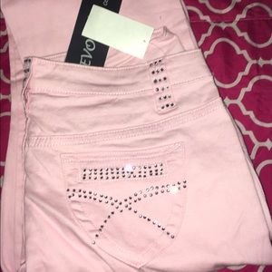 Pink Bedazzled Flare Jeans NWT
